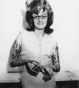 Lovely woman retro style tattoo