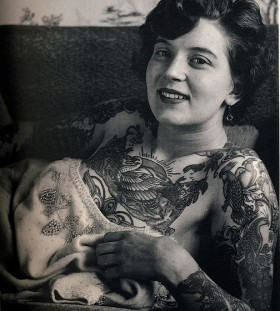 Lovely woman vintage style tattoos