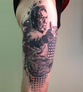 Man and car tattoo by Pietro Romano