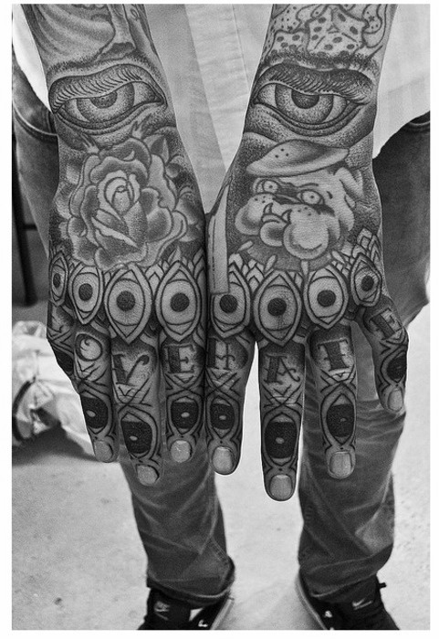 Man fingers tattoo