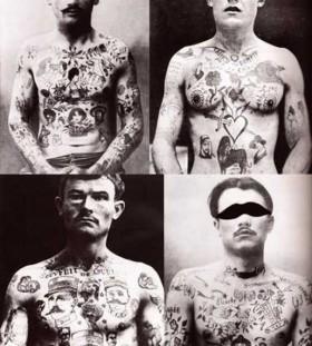 Man vintage style tattoos