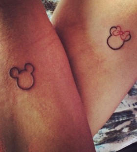 Mickey and Mine minimalistic style tattoo