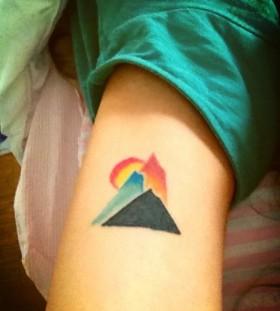 Mountain minimalistic style tattoo