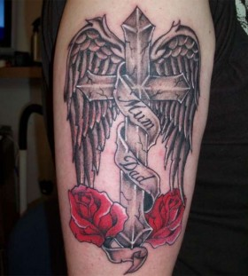 Nice black cross with red roses