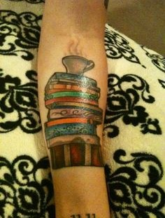 Nice tattoo with books and cup