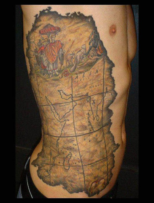 Old times map tattoo