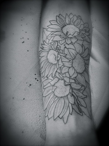 Pretty sunflower tattoo