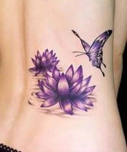 Purple lily with a butterfly