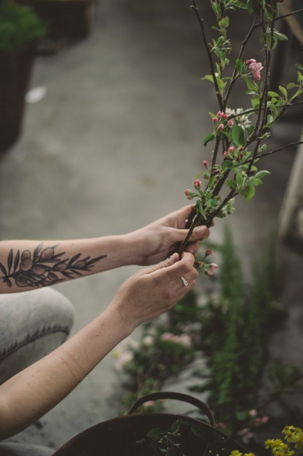 Realistic plant tattoo