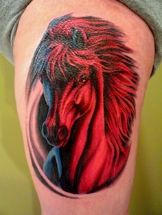 Red & black horse