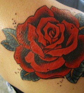 Red rose tattoo by Hania Sobieski