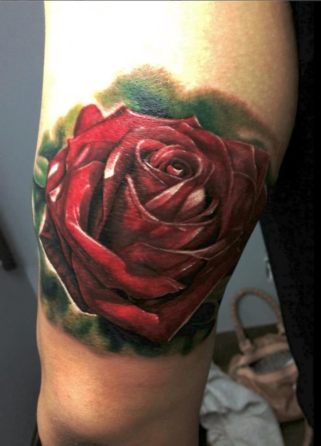 Red rose tattoo by Seunghyun JO aka Potter