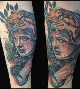 Sad woman tattoo by Art Junkies