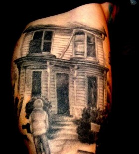 Scary house halloween tatoo