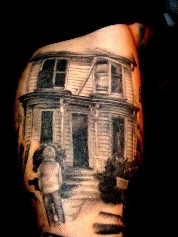 Scary house halloween tatoo