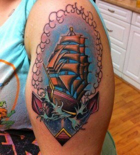 Ship tattoo by Art Junkies
