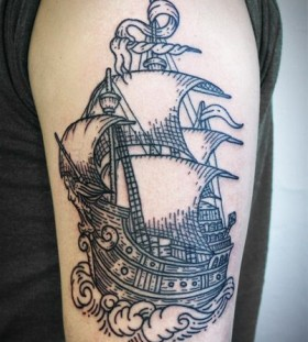 Ship tattoo by Lisa Orth