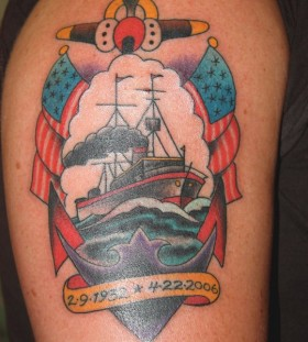 Ships tattoo by Mike Schweigert