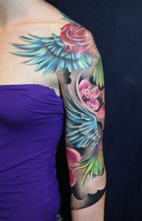 Shoulder and rose purple tattoo