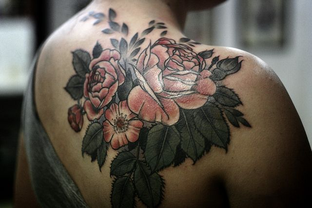Shoulder tattoo by Alice Carrier