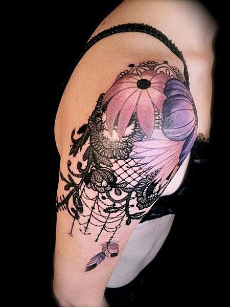 Shoulder vintage style tattoos