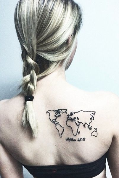 Simple back map tattoo
