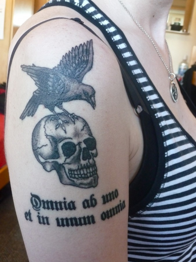 Skull and eagle tattoo by Lisa Orth
