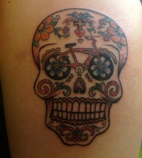 Skull bike tattoo