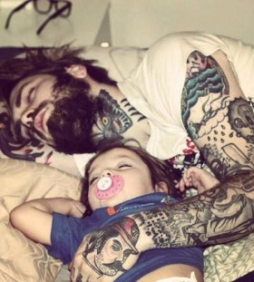 Sleeping father and daughter tattoo