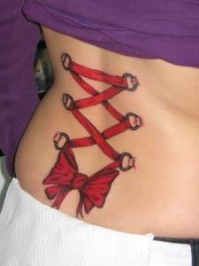 Small corset tattoo