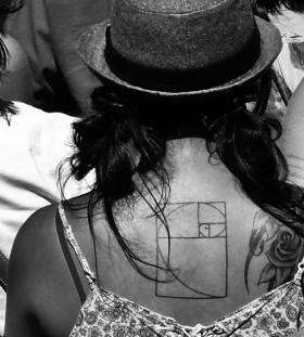 Woman back math tattoos