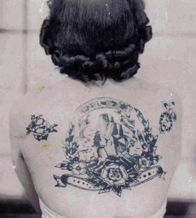 Woman back vintage style tattoos