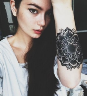 Woman black tattoo