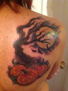 Woman halloween tatoo