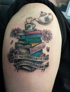 Womderful tattoo of books and cup