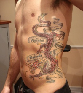 Wonderful tattoo with dragon and names