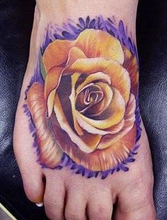 Yellow & Purple rose on the foot look amazing