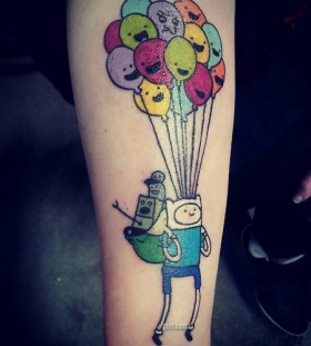 colorful balloons and cartoon
