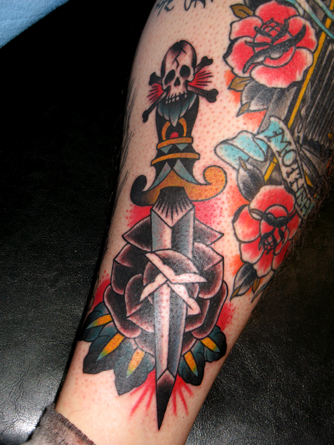 dagger skeleton and roses