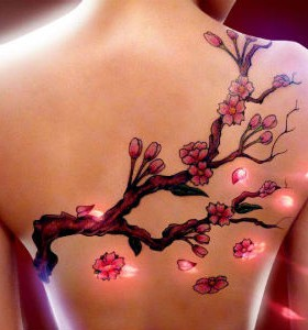 lighting cherry tattos on back