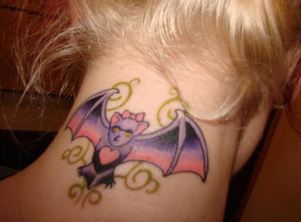 little bat on neck