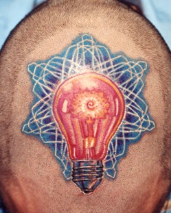 red bulb and blue light