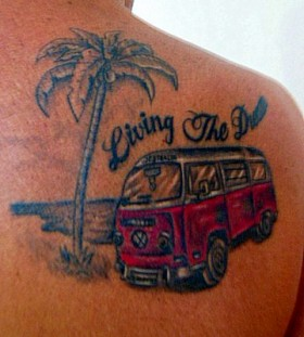 red bus and palm