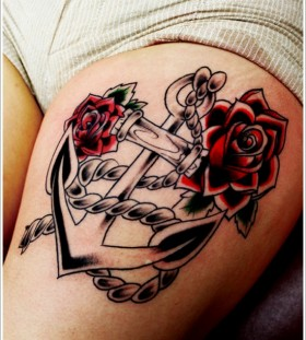 red roses with anchor