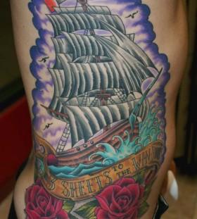 ship with italian flag