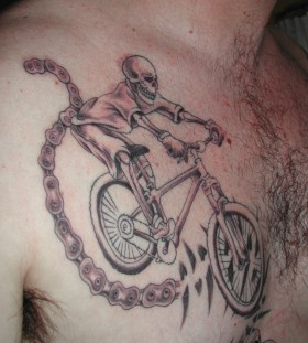 skeleton ride bike