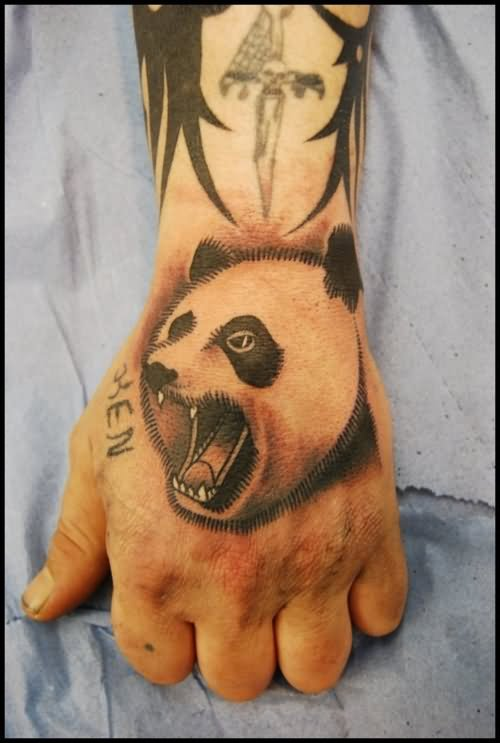 stylish bear on hand