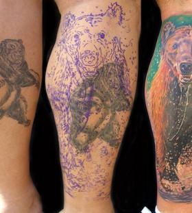 three bear tattos on leg