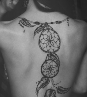Adorable back girl tattoo