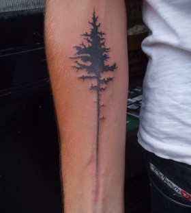 Amaizing black bird tree tattoo